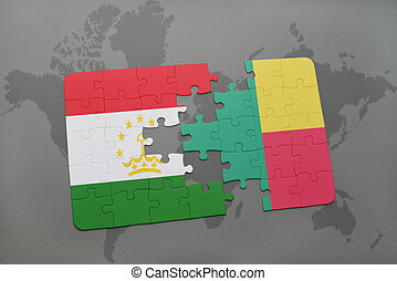 puzzle with the national flag of tajikistan and benin on a...