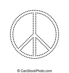 Peace sign illustration. Vector. Black dashed icon on white...