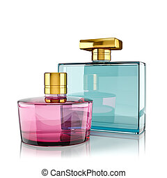 perfumery - Two perfume bottles with reflections. 3d render.