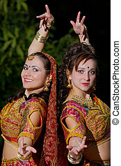 two young woman dance - indian cloth - two young woman dance...