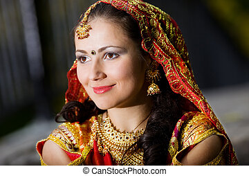 young woman in indian dress - young pretty woman in indian...