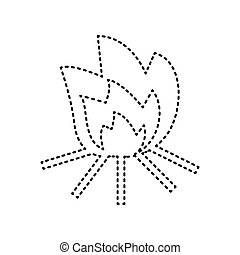Fire sign. Vector. Black dashed icon on white background. Isolated.
