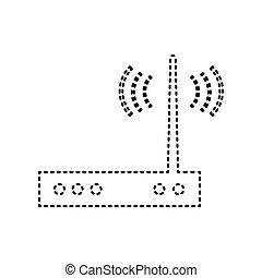 Wifi modem sign. Vector. Black dashed icon on white...