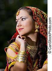 young woman in indian dress