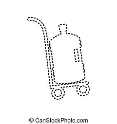 Plastic bottle silhouette with water. Big bottle of water on track. Vector. Black dashed icon on white background. Isolated.