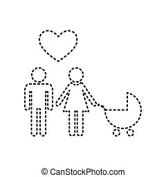 Family symbol with pram and heart. Husband and wife are kept each other`s hands. Love. Vector. Black dashed icon on white background. Isolated.