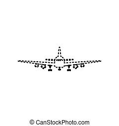 Flying Plane sign. Front view. Vector. Black dashed icon on white background. Isolated.