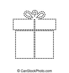 Gift sign. Vector. Black dashed icon on white background. Isolated.