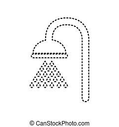 Shower sign. Vector. Black dashed icon on white background. Isolated.