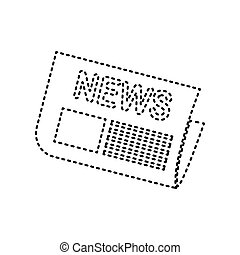 Newspaper sign. Vector. Black dashed icon on white background. Isolated.