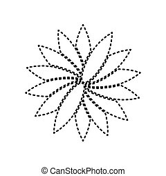 Flower sign. Vector. Black dashed icon on white background. Isolated.