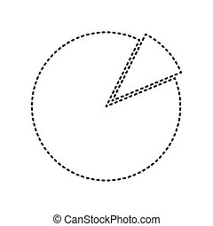 Finance graph sign. Vector. Black dashed icon on white...