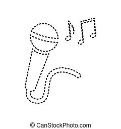 Microphone sign with music notes. Vector. Black dashed icon on white background. Isolated.