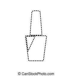 Nail polish sign. Vector. Black dashed icon on white background. Isolated.