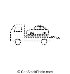 Tow car evacuation sign. Vector. Black dashed icon on white...