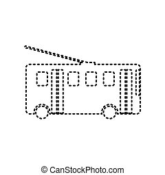 Trolleybus sign. Vector. Black dashed icon on white...