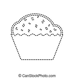 Cupcake sign. Vector. Black dashed icon on white background. Isolated.