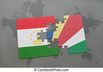 puzzle with the national flag of tajikistan and seychelles...