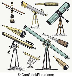 set of astronomical instruments, telescopes oculars and...
