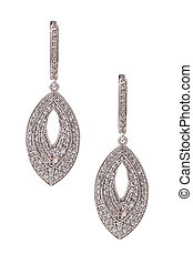 Pair of diamond earrings isolated on white with clipping path