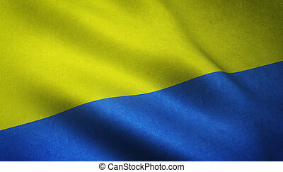 Realistic flag of Ukraine waving with highly detailed fabric...