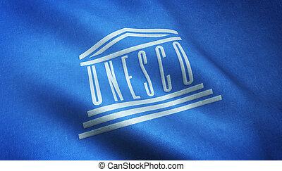 Lisbon, Portugal - August 20, 2016: UNESCO Flag - Realistic...
