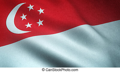 Realistic flag of Singapore waving with highly detailed...