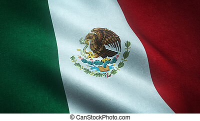 Realistic flag of Mexico
