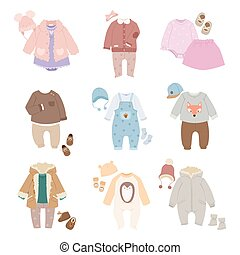 Funny vector baby kids clothes icon set