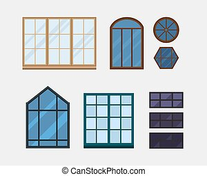 Different types house windows elements isolated set flat...