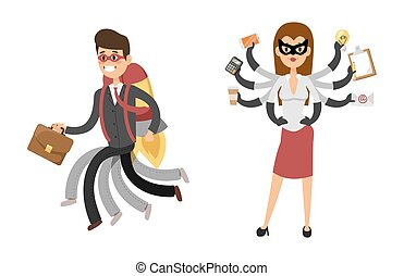 Superhero business man woman vector illustration set character success cartoon power concept businessman strong person silhouette leader team isolated