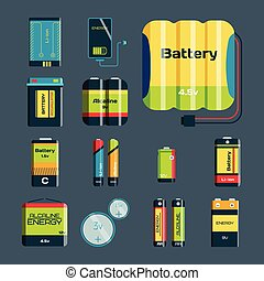 Battery energy tool electricity charge fuel positive supply and isposable generation component alkaline industry technology vector illustration.