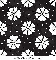 Seamless floral pattern with white flowers and dots on black background
