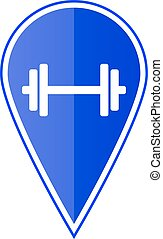 Blue map pointer with dumbbell. Vector illustration