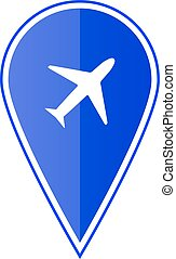 Blue map pointer with air plane. Vector illustration