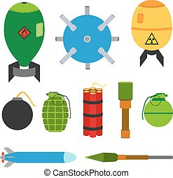 Explosive set of dangerous bombs. Made in flat style.
