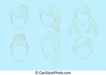 woman with hair style - cute cartoon woman has different...