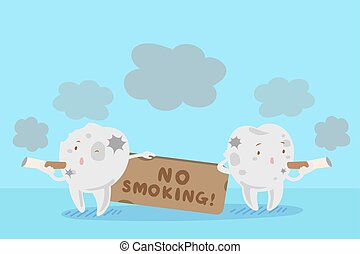 tooth with smoking problem - cute cartoon tooth with smoking...