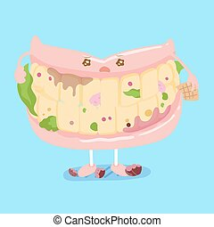 denture with decay problem - cute cartoon denture with decay...