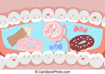 tooth with decay problem - cute cartoon tooth with decay...