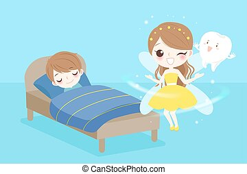 tooth fairy with boy - cute cartoon tooth fairy with boy...