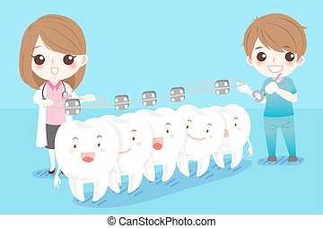 dentist with white tooth - cute cartoon dentist with white...