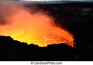 inside view of an active volcano with lava flow in Volcano...