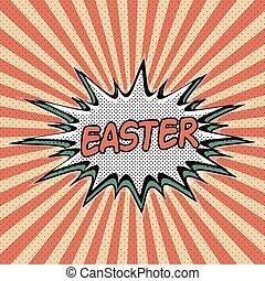 Vintage pop art background Easter
