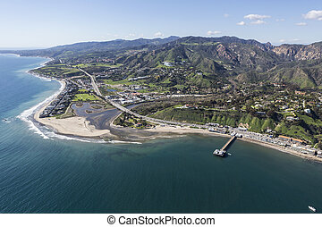 Malibu Pier and Surfrider Beach Aerial - Aerial view of...
