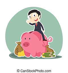 businessman on piggy bank with a lot of money