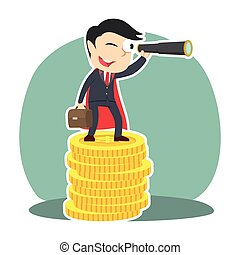 super businessman using binocular on top of coins