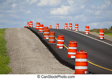 Road Construction - Construction zone on a newly paved road.