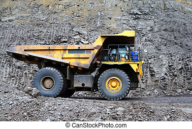 Coal truck working on site - panning shot a dump truck...