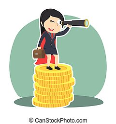 super businesswoman using binocular on top of coins